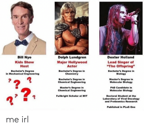 "Degree In: Bill Nye  Kids Show  Host  Dolph Lundgren  Major Hollywood  Actor  Bachelor's Degree in  Chemistry  Bachelor's Degree in  Chemical Engineering  Master's Degree in  Dexter Holland  Lead Singer of  The Offspring""  Bachelor's Degree  in Mechanical Engineering  Bachelor's Degree in  Biology  Master's Degree in  Molecular Biology  PhD Candidate in  Molecular Biology  Chemical Engineering  2  Fullbright Scholar at MIT  Doctoral Student at the  Laboratory of Viral Oncology  and Proteomics Research  Published in PLoS One me irl"