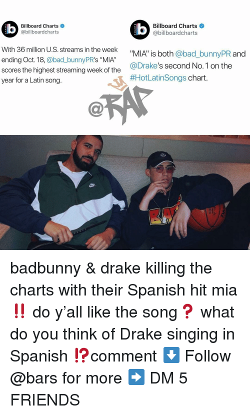 """drakes: Billboard Charts  @billboardcharts  Billboard Charts  @billboardcharts  LU  With 36 million U.S. streams in the week  ending Oct. 18, @bad_bunnyPR's """"MIA""""  scores the highest streaming week of the  year for a Latin song.  _bunnyPR and  @Drake's second No.1 on the  #HotLatinsongs chart badbunny & drake killing the charts with their Spanish hit mia ‼️ do y'all like the song❓ what do you think of Drake singing in Spanish ⁉️comment ⬇️ Follow @bars for more ➡️ DM 5 FRIENDS"""