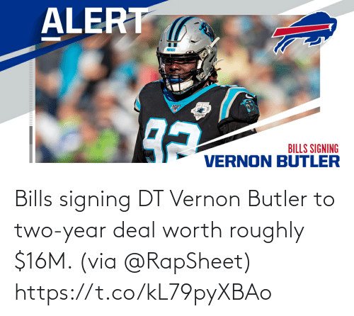 Signing: Bills signing DT Vernon Butler to two-year deal worth roughly $16M. (via @RapSheet) https://t.co/kL79pyXBAo