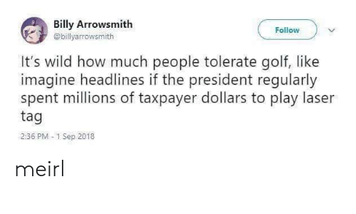 Golf, Wild, and MeIRL: Billy Arrowsmith  Follow  @billyarrowsmith  It's wild how much people tolerate golf, like  imagine headlines if the president regularly  spent millions of taxpayer dollars to play laser  tag  2:36 PM 1 Sep 2018 meirl