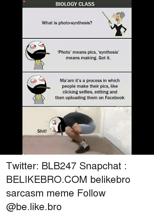 synthesis: BIOLOGY CLASS  What is photo-synthesis?  Photo' means pics, 'synthesis'  means making. Got it.  Ma'am it's a process in which  people make their pics, like  clicking selfies, editing and  then uploading them on Facebook  Shit! Twitter: BLB247 Snapchat : BELIKEBRO.COM belikebro sarcasm meme Follow @be.like.bro