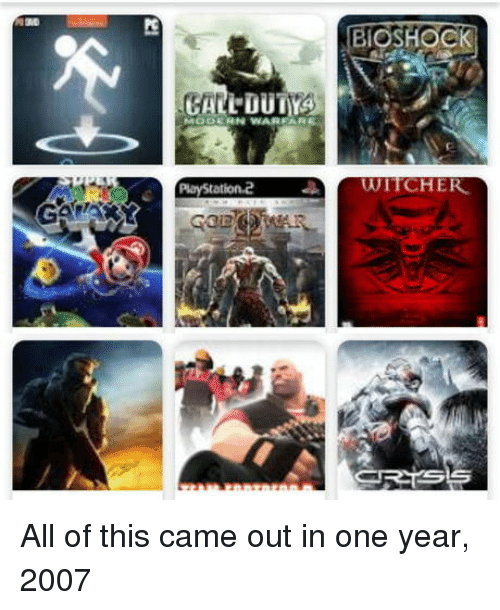 BioShock, Witcher, and One: BIOSHOCK  PlayStation2  WİTCHER All of this came out in one year, 2007