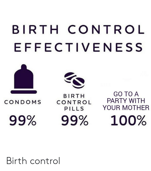 Your Mother: BIRTH CONTROL  EFFECTIVENESS  GO TO A  PARTY WITH  YOUR MOTHER  BIRTH  CONDOMS  CONTROL  PILLS  99%  99%  100% Birth control