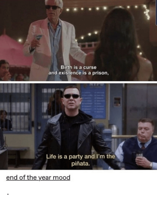 Prison: Birth is a curse  and existence is a prison,  Life is a party and I'm the  piñata.  end of the year mood .