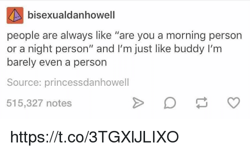 "personable: bisexualdanhowell  people are always like ""are you a morning person  or a night person"" and I'm just like buddy I'm  barely even a person  Source: princessdanhowell  515,327 notes https://t.co/3TGXlJLIXO"