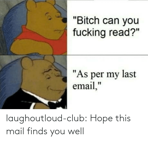 "You Fucking: ""Bitch can you  fucking read?""  ""As per my last  email,"" laughoutloud-club:  Hope this mail finds you well"