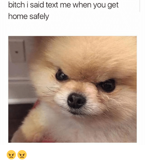 Bitch, Memes, and Home: bitch i said text me when you get  home safely 😠😠