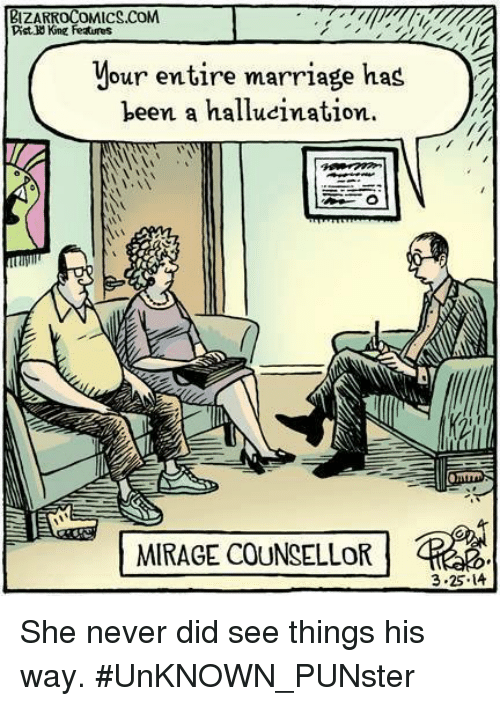 Marriage, Memes, and Never: BIZARROCOMICS.COM  Dist King Features  your entire marriage kas2  been a hallucination.  EMIRAGECOUNSELLOR -Red  3-25. 14 She never did see things his way.  #UnKNOWN_PUNster