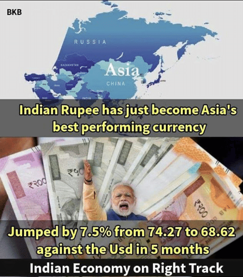Memes, China, and Best: BKB  RUS SI A  KAZAKHSTAN  As  CHINA  Indian Rupee has just become Asia's  best performing currency  Jumped by:7.5%from 74.27 to 68.62  against the Usd in 5 months  Indian Economy on Right Track