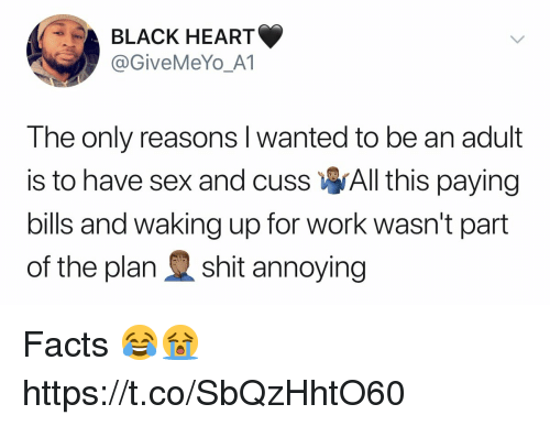 Facts, Sex, and Shit: BLACK HEART  @GiveMeYo_A1  The only reasons l wanted to be an adult  is to have sex and cuss All this paying  bills and waking up for work wasn't part  of the plan shit annoying Facts 😂😭 https://t.co/SbQzHhtO60