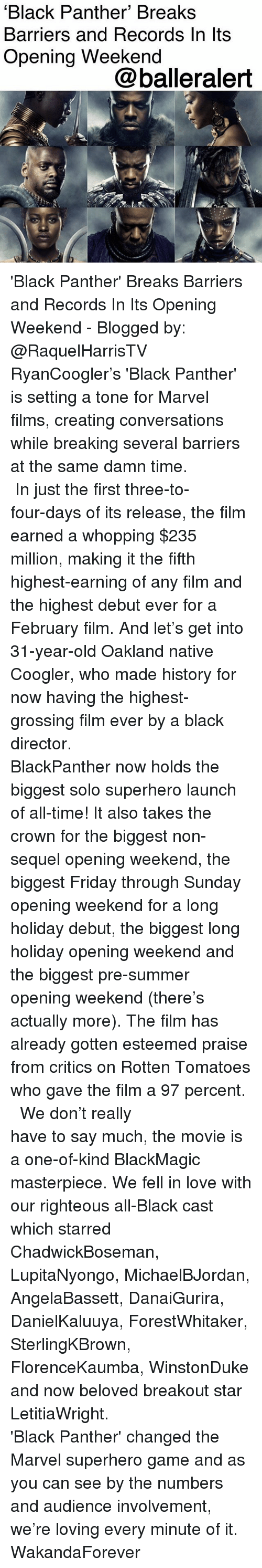 Friday, Love, and Memes: 'Black Panther' Breaks  Barriers and Records In lts  Opening Weekend  @balleralert 'Black Panther' Breaks Barriers and Records In Its Opening Weekend - Blogged by: @RaquelHarrisTV ⠀⠀⠀⠀⠀⠀⠀⠀⠀ ⠀⠀⠀⠀⠀⠀⠀⠀⠀ RyanCoogler's 'Black Panther' is setting a tone for Marvel films, creating conversations while breaking several barriers at the same damn time. ⠀⠀⠀⠀⠀⠀⠀⠀⠀ ⠀⠀⠀⠀⠀⠀⠀⠀⠀ In just the first three-to-four-days of its release, the film earned a whopping $235 million, making it the fifth highest-earning of any film and the highest debut ever for a February film. And let's get into 31-year-old Oakland native Coogler, who made history for now having the highest-grossing film ever by a black director. ⠀⠀⠀⠀⠀⠀⠀⠀⠀ ⠀⠀⠀⠀⠀⠀⠀⠀⠀ BlackPanther now holds the biggest solo superhero launch of all-time! It also takes the crown for the biggest non-sequel opening weekend, the biggest Friday through Sunday opening weekend for a long holiday debut, the biggest long holiday opening weekend and the biggest pre-summer opening weekend (there's actually more). The film has already gotten esteemed praise from critics on Rotten Tomatoes who gave the film a 97 percent. ⠀⠀⠀⠀⠀⠀⠀⠀⠀ ⠀⠀⠀⠀⠀⠀⠀⠀⠀ We don't really have to say much, the movie is a one-of-kind BlackMagic masterpiece. We fell in love with our righteous all-Black cast which starred ChadwickBoseman, LupitaNyongo, MichaelBJordan, AngelaBassett, DanaiGurira, DanielKaluuya, ForestWhitaker, SterlingKBrown, FlorenceKaumba, WinstonDuke and now beloved breakout star LetitiaWright. ⠀⠀⠀⠀⠀⠀⠀⠀⠀ ⠀⠀⠀⠀⠀⠀⠀⠀⠀ 'Black Panther' changed the Marvel superhero game and as you can see by the numbers and audience involvement, we're loving every minute of it. WakandaForever