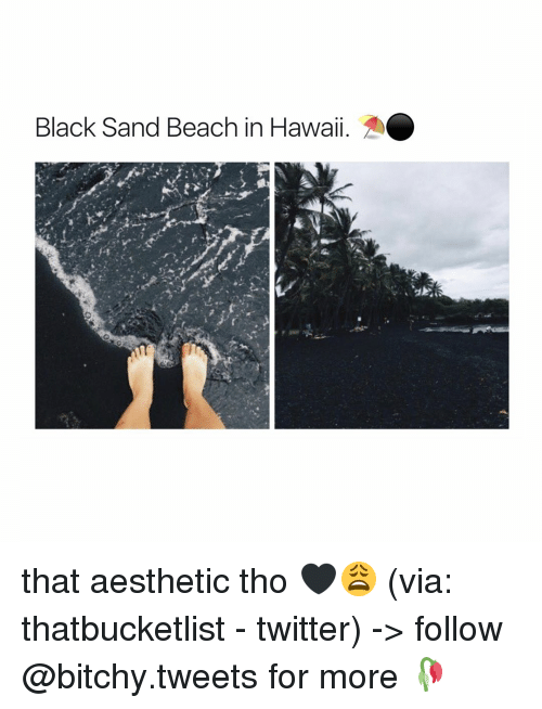 Bitchi: Black Sand Beach in Hawaii. that aesthetic tho 🖤😩 (via: thatbucketlist - twitter) -> follow @bitchy.tweets for more 🥀