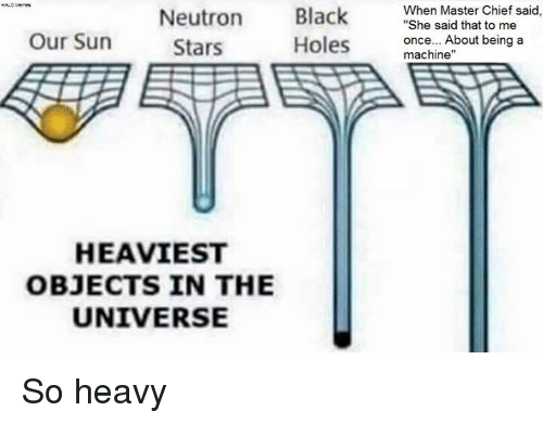 """Machining: Black  When Master Chief said  """"She said that to me  Neutron  Our Sun  once... About being a  Holes  Stars  machine""""  HEAVIEST  OBJECTS IN THE  UNIVERSE So heavy"""