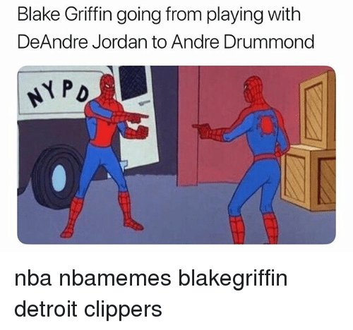 DeAndre Jordan: Blake Griffin going from playing with  DeAndre Jordan to Andre Drummond  NPD nba nbamemes blakegriffin detroit clippers
