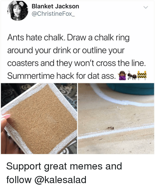 Ass, Dat Ass, and Memes: Blanket Jackson  @ChristineFox_  Ants hate chalk. Draw a chalk ring  around your drink or outline your  coasters and they won't cross the line  Summertime hack for dat ass.盝神器 Support great memes and follow @kalesalad
