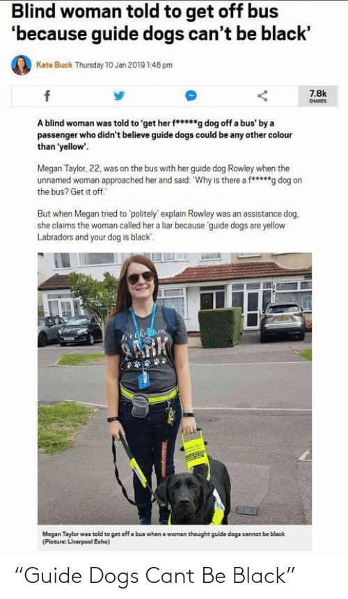 """Dogs, Megan, and Liverpool F.C.: Blind woman told to get off bus  'because guide dogs can't be black'  Kate Buck Thursday 1O Jan 2019 1:46 pm  7.8k  SHARES  A blind woman was told to 'get her f*****g dog off a bus' by a  passenger who didn't believe guide dogs could be any other colour  than 'yellow'.  Megan Taylor, 22, was on the bus with her guide dog Rowley when the  unnamed woman approached her and said: """"Why is there a f*****g dog on  the bus? Get it off.  But when Megan tried to 'politely' explain Rowley was an assistance dog.  she claims the woman called her a liar because 'guide dogs are yellow  Labradors and your dog is black'.  ARK  a woman thought guide dogs cannot be blacek  Megan Taylor was told to get off a bus when  (Pieture: Liverpool Echo) """"Guide Dogs Cant Be Black"""""""