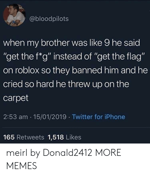 """roblox: @bloodpilots  when my brother was like 9 he said  """"get the f*g"""" instead of """"get the flag""""  on roblox so they banned him and he  cried so hard he threw up on the  carpet  2:53 am 15/01/2019 Twitter for iPhone  Ou  165 Retweets 1,518 Likes meirl by Donald2412 MORE MEMES"""