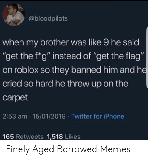 """roblox: @bloodpilots  when my brother was like 9 he said  """"get the f*g"""" instead of """"get the flag""""  on roblox so they banned him and he  cried so hard he threw up on the  carpet  2:53 am 15/01/2019 Twitter for iPhone  165 Retweets 1,518 Likes Finely Aged Borrowed Memes"""