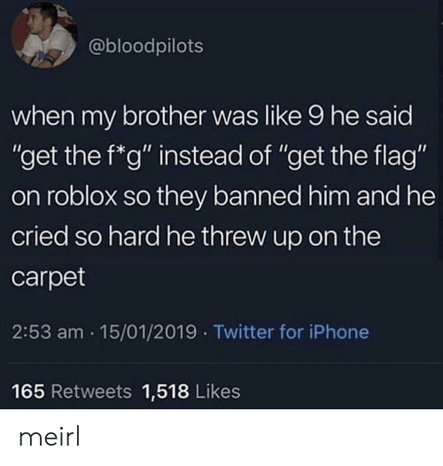 """roblox: @bloodpilots  when my brother was like 9 he said  """"get the f*g"""" instead of """"get the flag""""  on roblox so they banned him and he  cried so hard he threw up on the  carpet  2:53 am 15/01/2019 Twitter for iPhone  165 Retweets 1,518 Likes meirl"""
