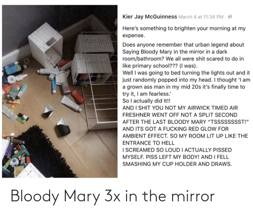 Mirror: Bloody Mary 3x in the mirror