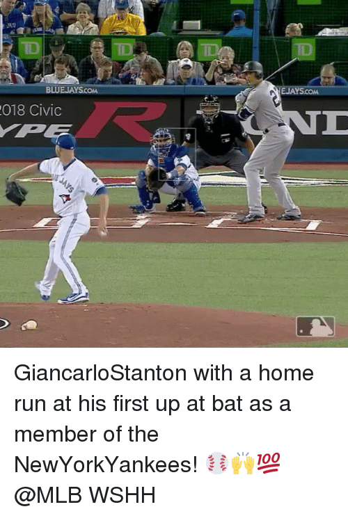 Memes, Mlb, and Run: BLU  018 Civic GiancarloStanton with a home run at his first up at bat as a member of the NewYorkYankees! ⚾️🙌💯 @MLB WSHH