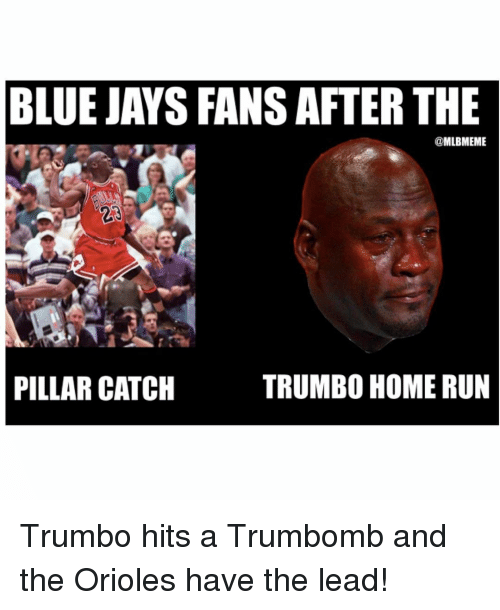 Blue Jay: BLUE JAYS FANSAFTER THE  MLBMEME  TRUMBO HOME RUN  PILLAR CATCH Trumbo hits a Trumbomb and the Orioles have the lead!