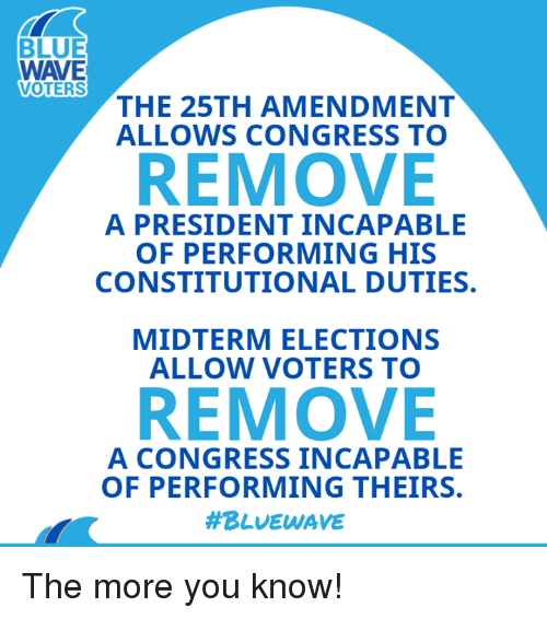 Constitutional: BLUE  WAVE  VOTERS  THE 25TH AMENDMENT  ALLOWS CONGRESS TO  REMOVE  A PRESIDENT INCAPABLE  OF PERFORMING HIS  CONSTITUTIONAL DUTIES.  MIDTERM ELECTIONS  ALLOW VOTERS TO  REMOVE  A CONGRESS INCAPABLE  OF PERFORMING THEIRS.  The more you know!