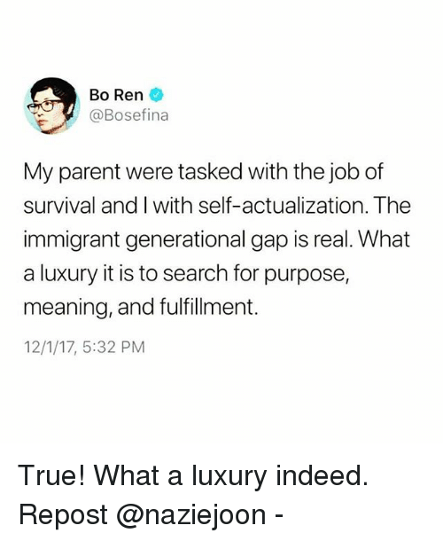 Memes, True, and Indeed: Bo Ren  @Bosefina  My parent were tasked with the job of  survival and I with self-actualization  immigrant generational gap is real. What  a luxury it is to search for purpose,  meaning, and fulfillment.  12/1/17, 5:32 PM  The True! What a luxury indeed. Repost @naziejoon -