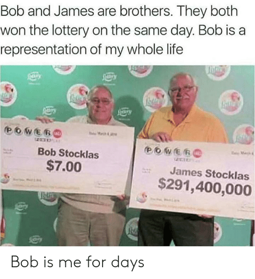 Life, Lottery, and Brothers: Bob and James are brothers. They both  won the lottery on the same day. Bob is a  representation of my whole life  Bob Stocklas  $7.00  James Stocklas  $291,400,000 Bob is me for days