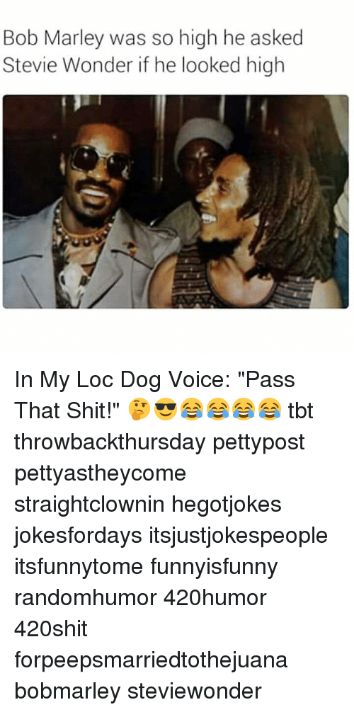 """Bob Marley, Memes, and Shit: Bob Marley was so high he asked  Stevie Wonder if he looked high In My Loc Dog Voice: """"Pass That Shit!"""" 🤔😎😂😂😂😂 tbt throwbackthursday pettypost pettyastheycome straightclownin hegotjokes jokesfordays itsjustjokespeople itsfunnytome funnyisfunny randomhumor 420humor 420shit forpeepsmarriedtothejuana bobmarley steviewonder"""