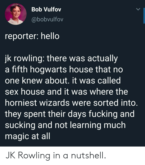 Wizards: Bob Vulfov  @bobvulfov  reporter: hello  jk rowling: there was actually  a fifth hogwarts house that no  one knew about. it was called  sex house and it was where the  horniest wizards were sorted into  they spent their days fucking and  sucking and not learning much  magic at all JK Rowling in a nutshell.