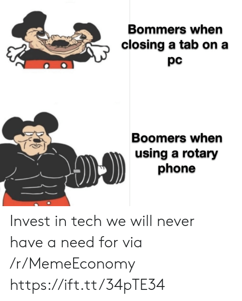rotary phone: Bommers when  closing a tab on a  pc  Boomers when  using a rotary  phone Invest in tech we will never have a need for via /r/MemeEconomy https://ift.tt/34pTE34