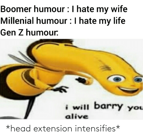 Wife: Boomer humour :I hate my wife  Millenial humour :I hate my life  Gen Z humour.  i will barry you  alive *head extension intensifies*