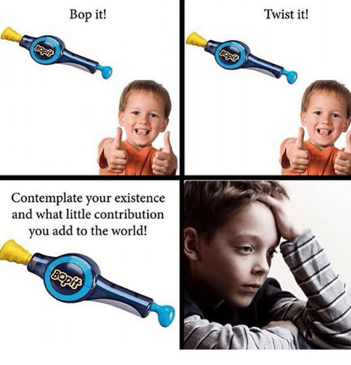 contemplate: Bop it!  Twist it!  Contemplate your existence  and what little contribution  you add to the world!