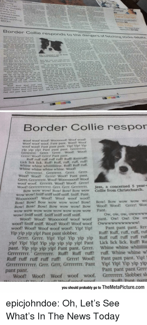 Pant: Border Collie responds to the dangers ot tetehine ssoees, debatn.  Border Collie respor  Woof  woot wooft Woooopoft Woof woott  Woof woot  woof. Pant pant. Woof! Woof  woof wooft Pant pant pant Vip! Yipt Vp  yip yip yipt Pant pant pant. Grrevrss  GFFEFETFY Grrr Grrr woof! Woot  Grrrrt Wooll Gerrrt Pant pant  Kuff rurt ruff ruff ru Rufmt Rrrrruf  Lick lick lick. Rulft Ruff, ruff, ruff, rufl  Whine whine whinimine. Rafft Ruff ruff.  Whine whine whine whine. Woof  Grrrr.  『rrrrrrrr.  Grrrrrrrr,  Grrrr  Woont Woot Grrrrt Wooft Pant pant  Grrrt. GrrEFFIEIr. Wooft Wooooooof! Woof  woof woof. GrrFITE. Wooft Wooft Grrrrt  won Grrrrrrrrrrrr. Grrr, Grrr Grrrrrrrr.  Jess, a concerned S year-s  Bow wow wowt Bowt Bowt Bow wow Collie from Christchurch.  wow wowt Sniff sniff sniffT soiff. Sniff. Pant.  woof woof  Woooooooft Woof! Woof  Bow! Bow! Bow wow wow wow! Bow! Bows Bow wow wow wo  Bow! Bow! Bow! Bow wow wow! Bow Wooft  wow wow wow wow wow wow wow wow Pant  wow! Sniff sniff. Sniff sniff sniff sniff  Woof! Woof! Woooooof woof woof pant. Owt Owt Ow ow  woof? Sniff sniff. Woof! Woof! Woof woof  woof! woof! Woof woof woof!, Yip! Yip!  Yip yip yip yip! Pant pant slobber  Owwwwwwwwwww!  Pant pant pant. RrT  Ruff! Ruff, ruff, ruff, ruf  Grrrr. Grrrr. Yipt Yip! Yip yip yip Ruff ruff ruff ruff ruf  p! Vip! Yip yip yip yip yip! Pant Lick lick lick. Ruf Ru  pant. Yip yip yip yip! Pant pant. Grrrr. Whine whine whii  Grrrrrrrrr. Grrrrrrrr. Ruff! Ruff ruff ruff. Whine whine w  Ruff ruff ruff ruff rufft Grrrt Wooft Pant pant pant. Yip!  Grrrrrrrrrrrrr. Grrr. Grr, GrrrTIT. Pant Yip! Yip! Yip yip yip  Pant pant pant Grrm  Woof Woof! Woof woof woof. GrrmrEEr. Slobber sl  yip! Yi  pant pant.  you should probably go to TheMetaPicture.com epicjohndoe:  Oh, Let's See What's In The News Today