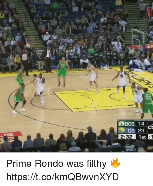 priming: Bos 14  GS 23  2:32 1st Prime Rondo was filthy 🔥 https://t.co/kmQBwvnXYD