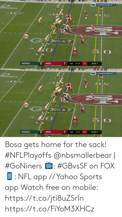 For The: Bosa gets home for the sack! #NFLPlayoffs  @nbsmallerbear | #GoNiners  📺: #GBvsSF on FOX 📱: NFL app // Yahoo Sports app Watch free on mobile: https://t.co/jti8uZSrIn https://t.co/FiYoM3XHCz