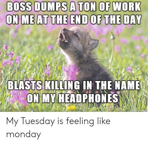 Work, Headphones, and Monday: BOSS DUMPS A TON OF WORK  ON ME AT THE END OF THE DAY  BLASTS KILLING IN THE NAME  ON MY HEADPHONES  made on in  gu My Tuesday is feeling like monday