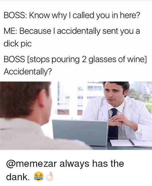 Danks: BOSS: Know why I called you in here?  ME: Because l accidentally sent you a  dick pic  BOSS [stops pouring 2 glasses of wine]  Accidentally? @memezar always has the dank. 😂👌🏻