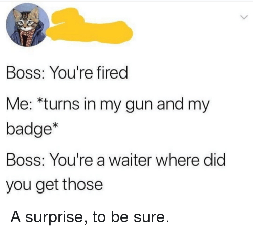 Gun, Boss, and Did: Boss: You're fired  Me: *turns in my gun and my  badge*  Boss: You're a waiter where did  you get those A surprise, to be sure.