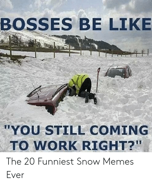 "Be Like, Memes, and Work: BOSSES BE LIKE  ""YOU STILL COMING  TO WORK RIGHT?"" The 20 Funniest Snow Memes Ever"