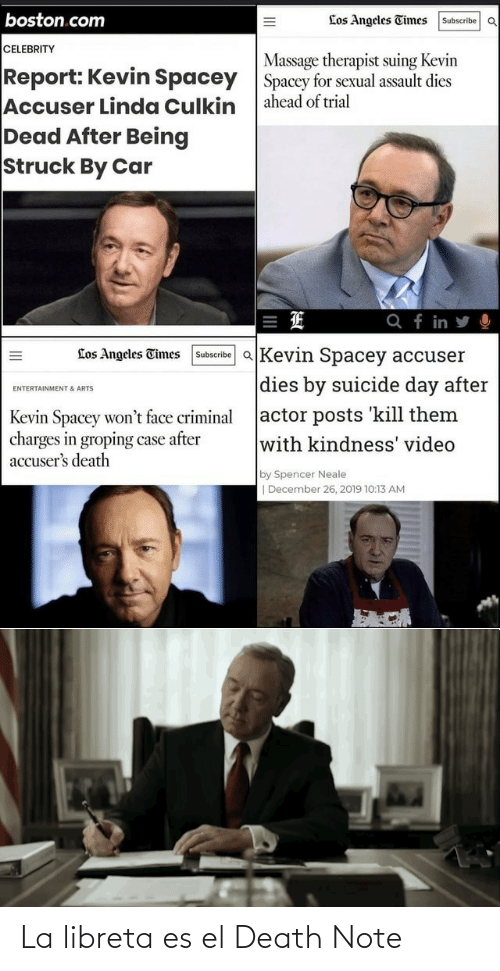 celebrity: boston.com  Los Angeles Times  Subscribe OQ  CELEBRITY  Massage therapist suing Kevin  Spacey for sexual assault dies  ahead of trial  Report: Kevin Spacey  Accuser Linda Culkin  Dead After Being  Struck By Car  Q f in y O  Subscribe aKevin Spacey accuser  Los Angeles Times  dies by suicide day after  ENTERTAINMENT & ARTS  actor posts kill them  with kindness' video  Kevin Spacey won't face criminal  charges in groping case after  accuser's death  by Spencer Neale  | December 26, 2019 10:13 AM  II La libreta es el Death Note