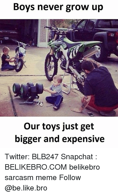 never grow up: Boys never grow up  our toys just get  bigger and expensive Twitter: BLB247 Snapchat : BELIKEBRO.COM belikebro sarcasm meme Follow @be.like.bro