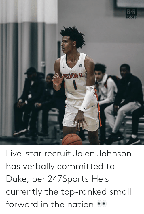Duke, Star, and The Nation: BR  HOOPS  PHENOM U. Five-star recruit Jalen Johnson has verbally committed to Duke, per 247Sports  He's currently the top-ranked small forward in the nation 👀
