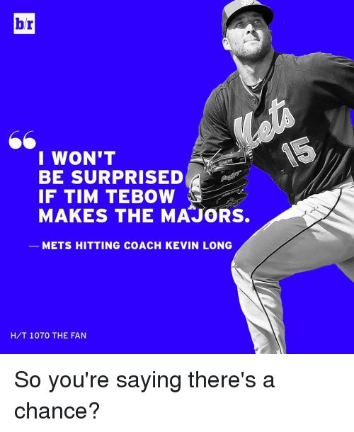 Tebowing: br  I WON'T  IF TIM TEBOW  MAKES THE MAJORS.  METS HITTING COACH KEVIN LONG  HIT 1070 THE FAN So you're saying there's a chance?