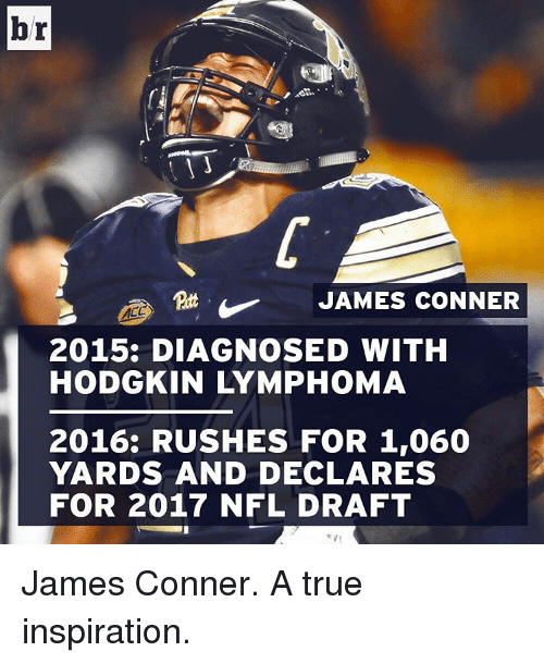 NFL Draft, Sports, and Rush: br  JAMES CONNER  2015: DIAGNOSED WITH  HODGKIN LYMPHOMA  2016: RUSHES FOR 1,060  YARDS AND DECLARES  FOR 2017 NFL DRAFT James Conner. A true inspiration.