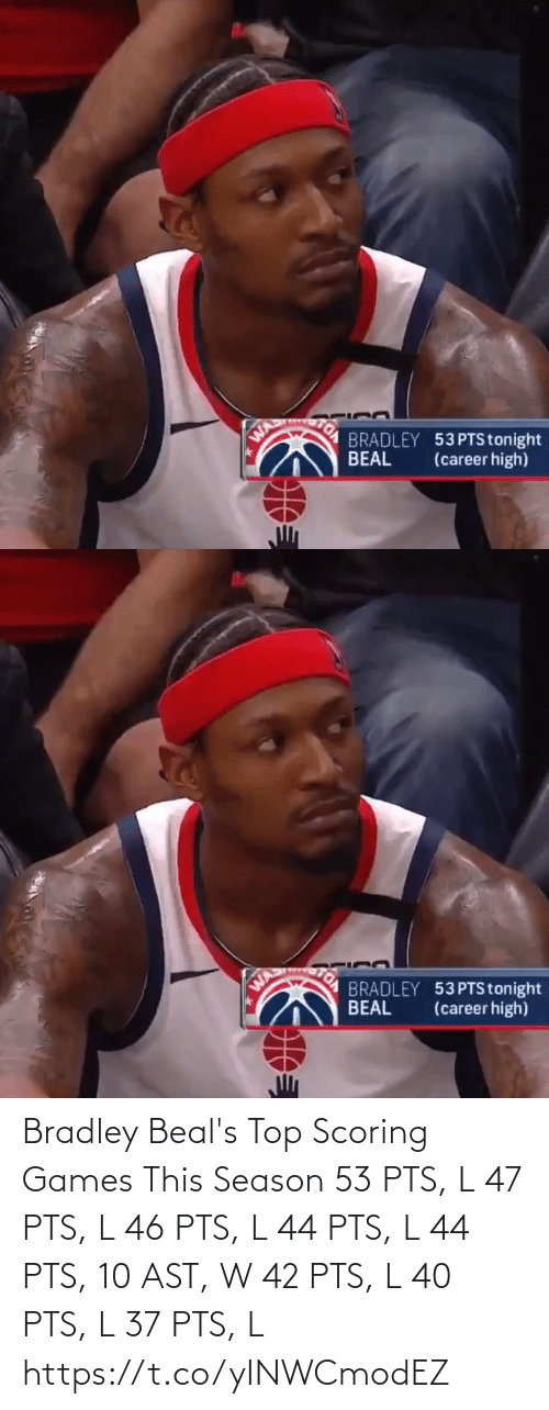 pts: Bradley Beal's Top Scoring Games This Season  53 PTS, L 47 PTS, L 46 PTS, L 44 PTS, L 44 PTS, 10 AST, W 42 PTS, L 40 PTS, L 37 PTS, L  https://t.co/yINWCmodEZ