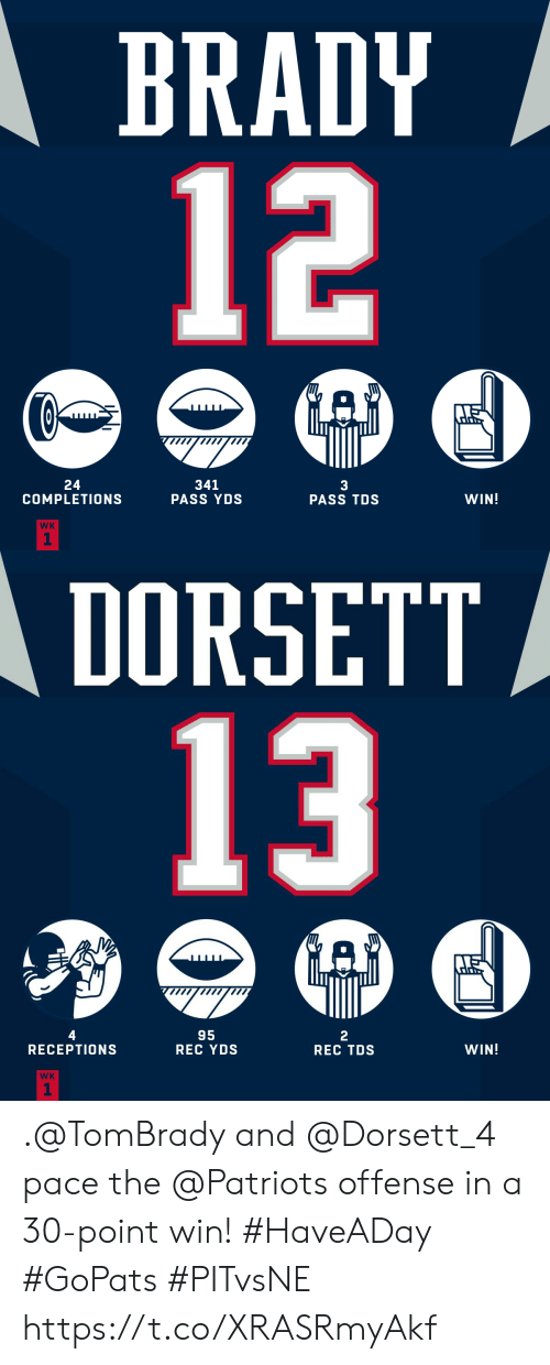 Memes, Patriotic, and Brady: BRADY  12  24  COMPLETIONS  341  PASS YDS  3  PASS TDS  WIN!  WK  1   DORSETT  13  4  95  REC YDS  2  REC TDS  RECEPTION  WIN!  WK  1 .@TomBrady and @Dorsett_4 pace the @Patriots offense in a 30-point win! #HaveADay #GoPats  #PITvsNE https://t.co/XRASRmyAkf