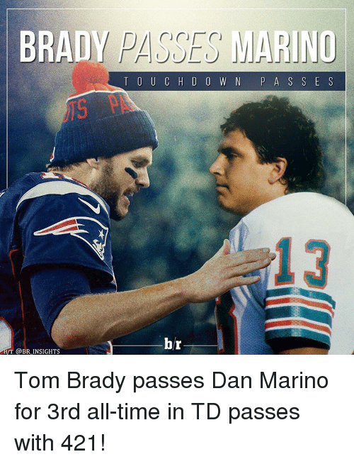 Sports, Tom Brady, and Time: BRADY  MARINO  T O U C H D O W N  P A S S E S  br  VT BR INSIGHTS Tom Brady passes Dan Marino for 3rd all-time in TD passes with 421!