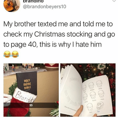 Christmas, Ironic, and Meme: brahdiho  @brandonbeyers10  My brother texted me and told me to  check my Christmas stocking and go  to page 40, this is why I hate him  HOLY  mEME  BIBLE  You